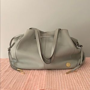 Vince Camuto Leather Gray Drawstring Gold Tote